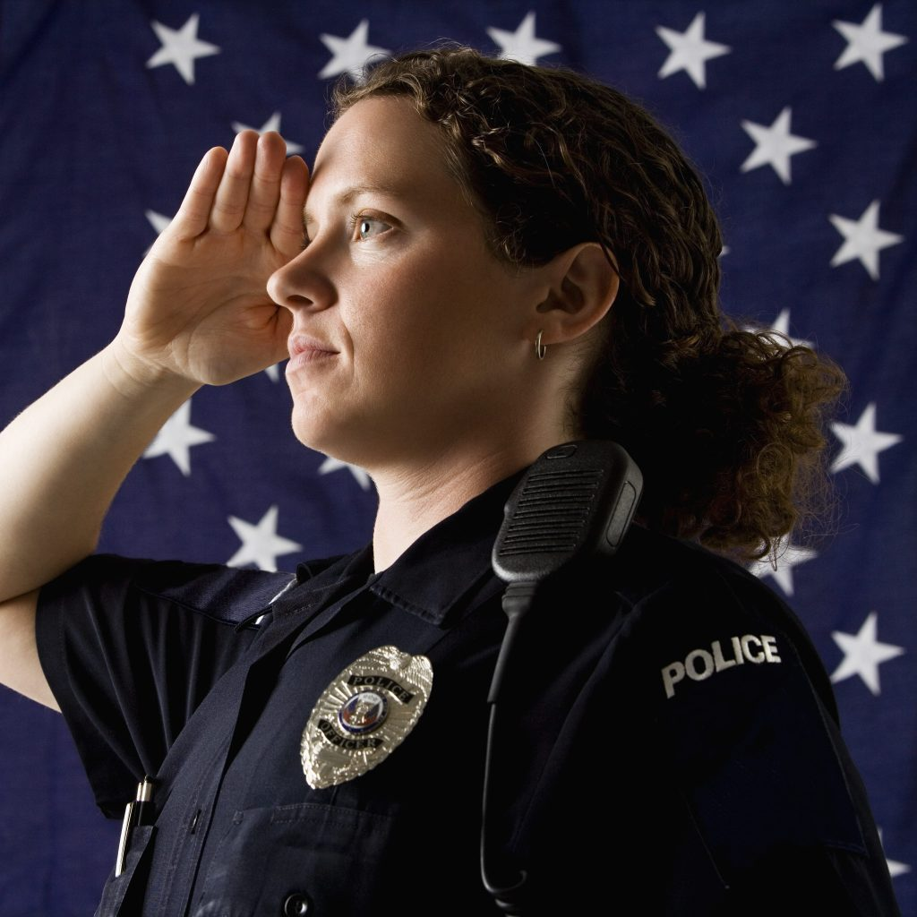 Saluting Police Officer